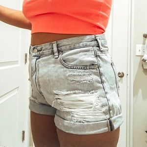 American Eagle Distressed High Waisted Mom Shorts